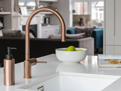 coper and marble, kitchen taps