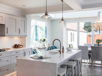 marble worktops, stylish kitchen